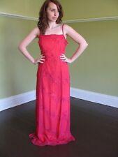 ORANGE fuchsia SILK net over dress art DECO GLASS BEADED FORMAL PARTY gown L/ 14