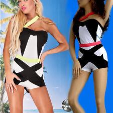 Sexy Damen Overall Anzug Catsuit Einteiler Jumpsuit Schwarz weiss X S M #864-865
