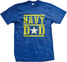 Navy Dad Proud Parent Military Star Emblem Ship Father Serve USA Men's T-Shirt