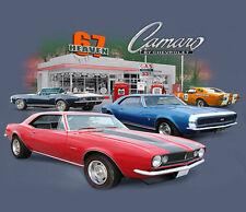 GM / Chevrolet 67 Heaven Camaro Gas Station INDIGO Adult T-shirt