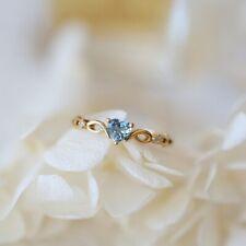 14K Solid Yellow Gold Heart Aquamarine Ring Wedding Women Men's Jewelry Sz6-10