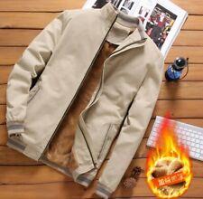 Men Casual Pure Cotton Jacket Plain Outwear Coat Warm Bomber Stand Collar Korean