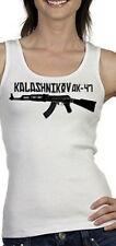 Kalashnikov AK-47 White Tank Top S - 2XL Sexy Rebel Punk Soviet Russia Gun Metal