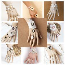 Handmade Lace Jewelry Adjustable Bracelet Ring Women Fashion Victorian Bridal