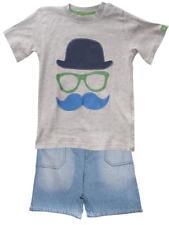 Camiseta Niño Vaqueros Cortos Bombín Gafas Bigote Set 12 meses-7 años