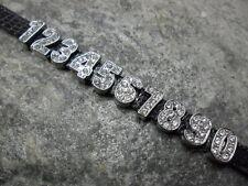 Strass Zahlen Perlen 14 mm 0-9 Schiebeperle Silber Armband Halsband Datum