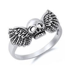Men Women 925 Sterling Silver Oxidized Skull Wing Ring / Free Gift Box