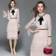 2018 women's fashion temperament lace satin bowknot mandarin sleeve vogue Dress