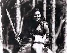 Xena Photo Club January 1999 Jan 99 photograph Xena riding Argo with sword b&w