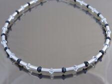 Titanium Titan Halskette Collier Silber Swarovski bicolor schwarz weiß Damen