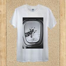 Jirafa en un avión T-Shirt diseño cielo Divertido Viaje Verano Unisex Mujer Ajustada