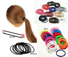 50x Haargummi  4cm  Haarband Schwarz Bunt Elastisch Pferdeschwanz Zopfgummi*