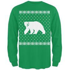 Big Polar Bear Ugly Christmas Sweater Green Long Sleeve T-Shirt