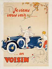 PLAQUE ALU DECO JE VIENS VOUS VOIR EN VOISIN AUTOMOBILES 1922 ANCIENNE VOITURE