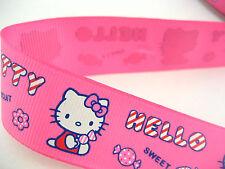 cute hello kitty printed fabric ribbon kids gifts wrap pink ribbon sew trimming
