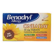 Benadryl Allergy One a Day Hayfever Cat Dog Dust Allergy Tablets 7 - Multibuy