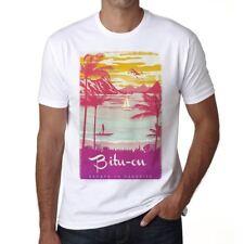 Bitu-on Escape to paradise Homme T-shirt Blanc Cadeau 00281