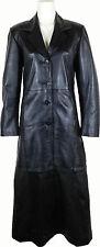 UNICORN Femmes Plein Longueur de Trench Coat de Réel en cuir Veste - Noir #AW