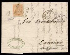 REGNO 1869 - 10 c. n. T17 RAGGIO LIMITROFO x SVIZZERA