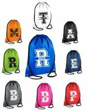 Personalised Name SPLIT INITIAL Drawstring Bag School Club PE Custom Name Sport