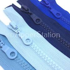 Azul marino y azul Grueso Terminación Abierta Cremallera Dientes De Plástico