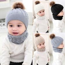 1 2pzas Bebé Adulto Niña Niño Cálido de Invierno Gorro de Punto Gorra +  Bufanda 37b99584e47