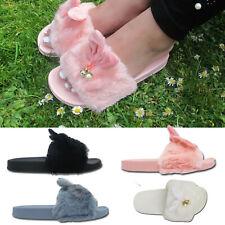 Kids Girls Furry Fluffy Rabbit Ear Charm Sliders Slippers Mules Flip Flops Shoes