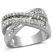 2942 WOMENS RING SIMULATED DIAMONDS CROSS OVER CHUNKY COMFORT SILVER PRINCESS CT