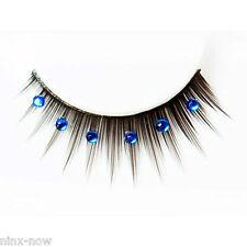 Black Deluxe False Eyelashes with Blue Diamantes