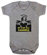 Baby Boys/Girls Unisex MY DAD IS A DRUMMER Funny Drum Drumming Music Babygrow