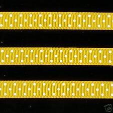 "5 yards 3/8"" Yellow Swiss Polka Dot Grosgrain Ribbon"