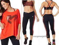 ZUMBA New On The Scene Crop Leggings Zebra - Rev Me Up Orange/Red - EliteZWear
