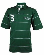 Croker Irish Green Piping Polo Shirt Mens Ireland V Neck Collar Screen Print New