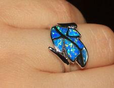 fire opal ring gemstone silver jewelry Sz 6 7 7.5 engagement wedding Leaf band