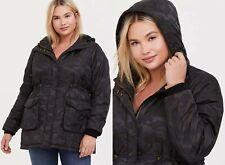Torrid Grey Camo Hooded Anorak Cargo Winter Coat Puffer Jacket Womens Plus Size