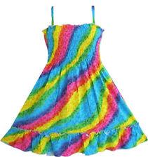 Vestito Bambina Arcobaleno Affumicata Cavezza Bambini Abbigliamento 2-10 anni