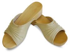 Damen Holz Clogs Leder Sandalen Pantoletten Holzschuhe Beige