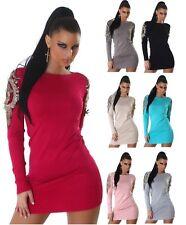 Sexy  Strickkleid Minikleid Longpullover Kleid Dress mit Stickerei