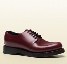 New Gucci Men's Leather Lace-up Dress Shoes Bordeaux 358277 6123