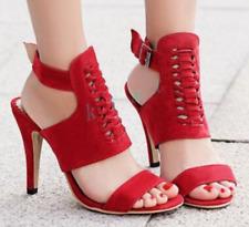 Womens Hollow Out Buckle Sandals High Heels Platform Pump Stilettos Suede Shoes