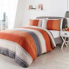 Orange Duvet Covers Betley Modern Striped Print Easy Care Quilt Bedding Sets