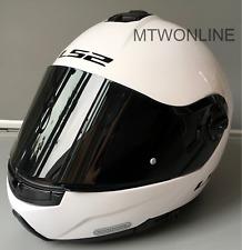 LS2 Flip Up Front Motorcycle Motorbike Helmet Gloss White - Tinted Black Visor