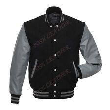 Men's Varsity Letterman Baseball bomber Jacket Wool & Leather Sleeve Black/Gray