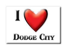 SOUVENIR USA - KANSAS FRIDGE MAGNET AMERICA I LOVE DODGE CITY (FORD COUNTY)