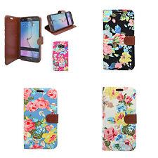 Samsung Galaxy Note 5 Clásico Vaqueros Denim Tapa de Libro VINGAGE Flor Funda
