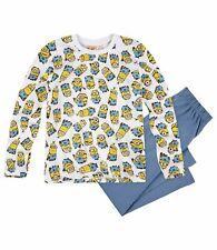 Jungen Schlafanzug Pyjama Langarm Minions weis Gr.116 128 140 152 NEU Geschenk