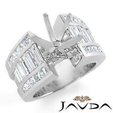 Channel Set Diamond Emgagement Ring 14k White Gold Multi Shape Semi Mount 2Ct
