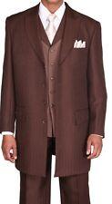 Men's Herring Bone Stripe Zoot Suit w/ Matching Stripe Vest 3106 Brown