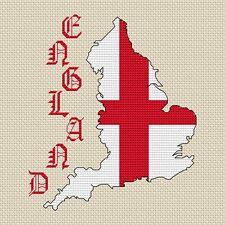 "Inghilterra carta & bandiera Cross Stitch Design (15x15cm, 6x6 "", kit o grafico, 14hpi)"
