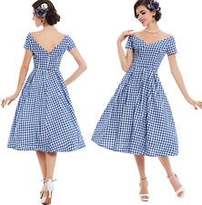 Summer Vintage Retro Plaid Off Open Shoulder Garden Party Formal Plus Size Dress